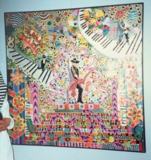 Outsider artist painting: On Your Toes includes dancing on curvilinear piano key walkway - by Harriet Young