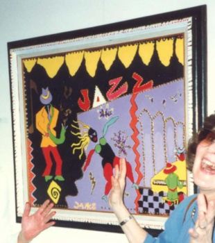 Outsider artist painting: Colorful and stylized comic Jazz painting - by Harriet Young