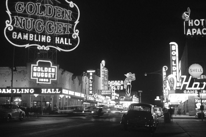 Old black and white photo of Las Vegas at night