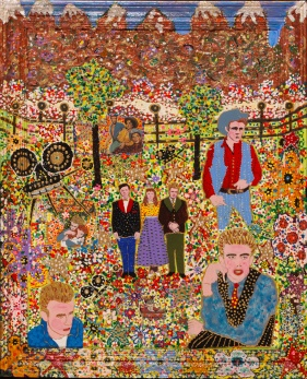 Outsider artist painting: James Dean features James Dean with Liz Taylo - by Harriet Young