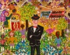 Outsider artist painting: Frank Sinatra - by Harriet Young