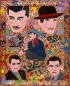Outsider artist painting: The Five Legends features Clark Gable, Charlie Chaplin, Humphrey Bogart, Cary Grant, Errol Flynn, Orson Welles - by Harriet Young