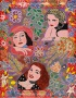 Outsider artist painting: The Three Legends features Bette Davis, Joan Crawford and Rita Hayworth - by Harriet Young