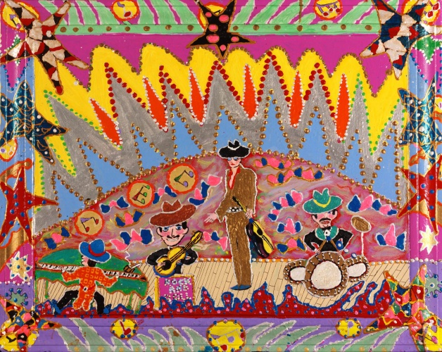 Outsider artist painting: Trini Lopez and his Mexican band - by Harriet Young
