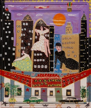 Outsider artist painting: Farewell to Old Friends features film stars Bette Davis, Joan Crawford and Audrey Hepburn ascending to heaven - by Harriet Young
