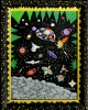 Outsider artist painting:  Space - depicts the Universe at rush hour - by Harriet Young