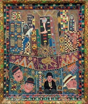 Outsider artist painting:  early cinema comedians: Laurel and Hardy, Charlie Chaplin, Harold Lloyd and W.C. Fields - by Harriet Young