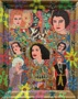 Outsider artist painting: Hedy Lamarr with Lucille Ball and others - by Harriet Young