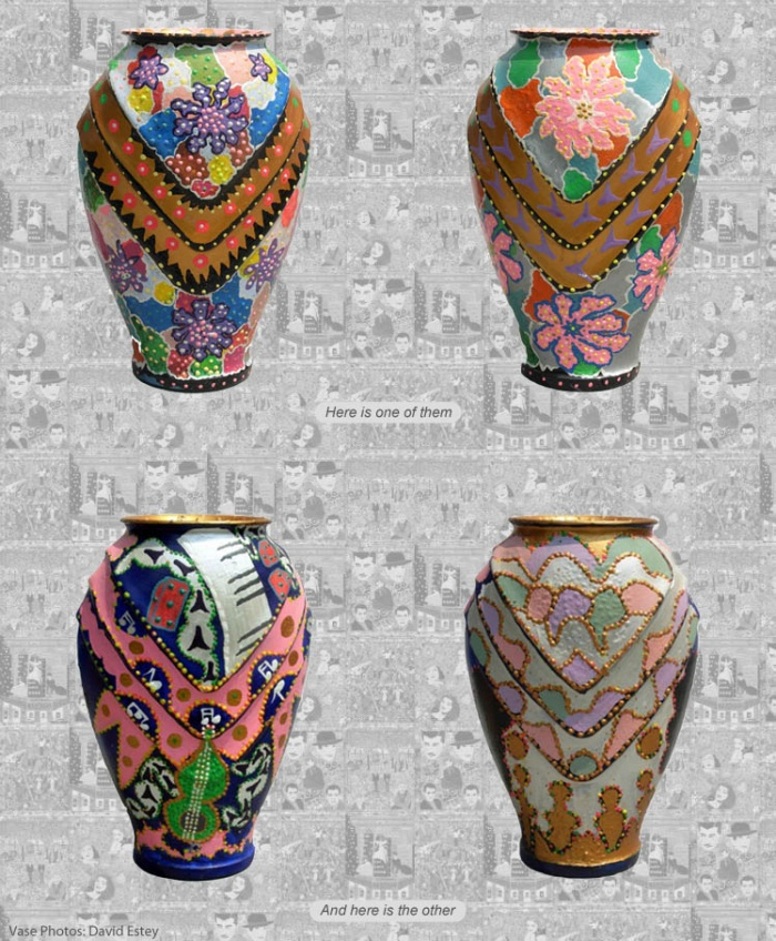 Hand-painted flea market vases by Philadelphia folk artist Harriet Young